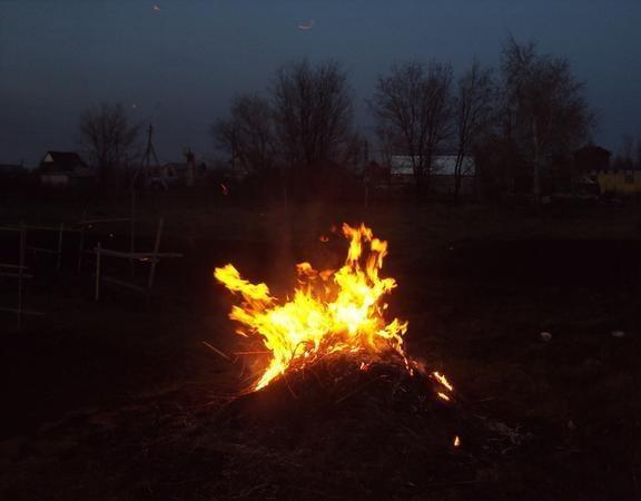 Сжигаем сухую траву и ветки